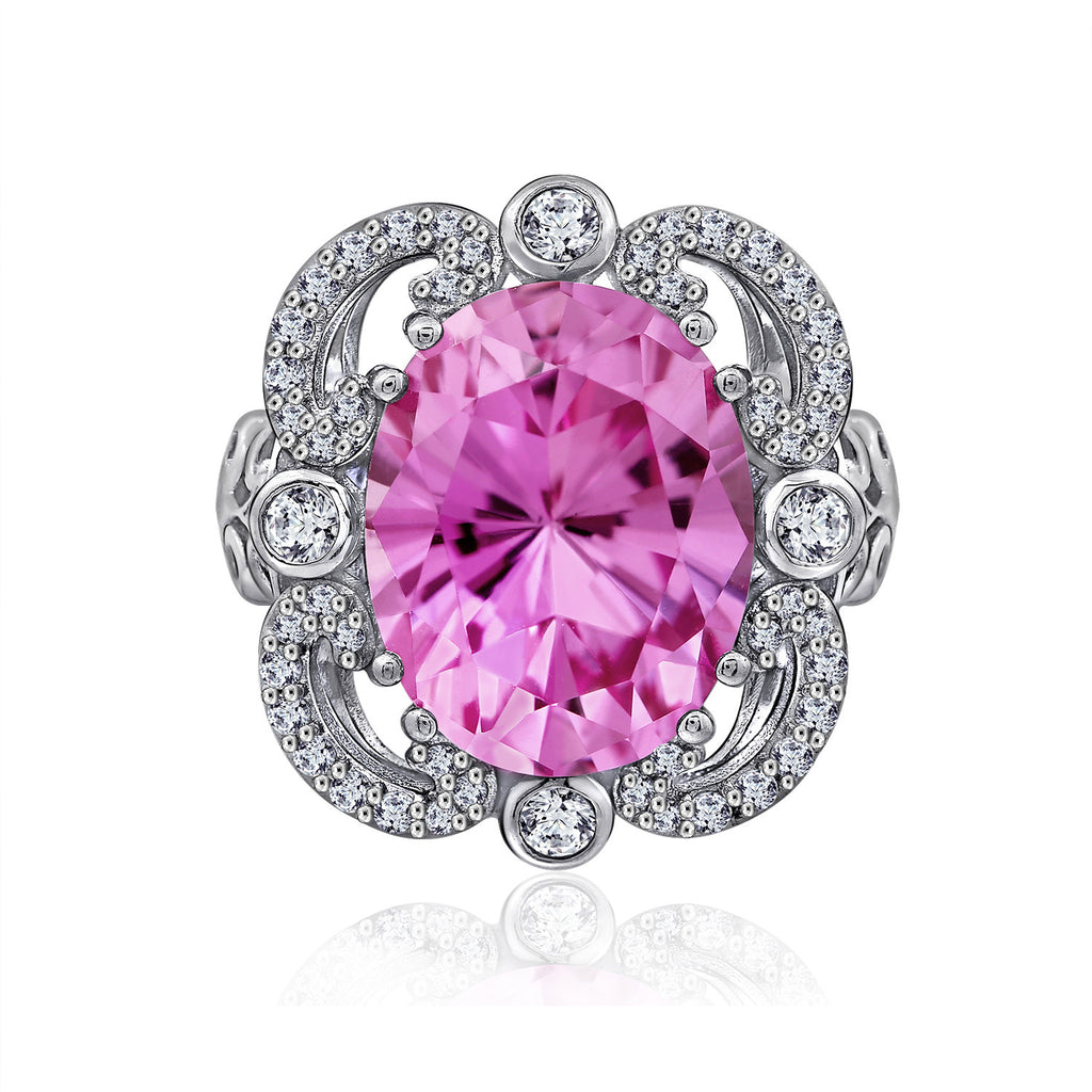 GEMOUR COLLECTION Simulated Pink Sapphire Statement Ring - GEMOUR