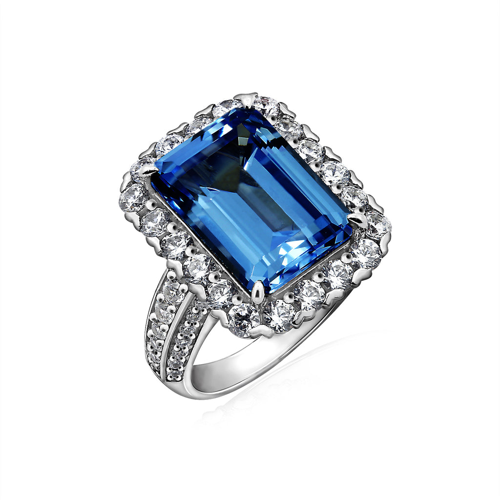 one carat mainwh blue luxurman for sapphire women diamond ring cocktail unique