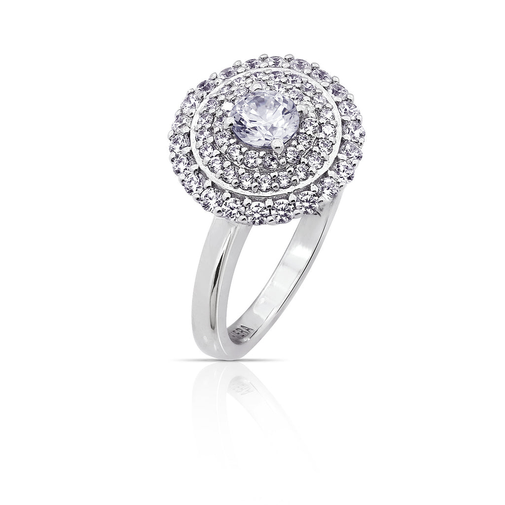 KIERA \'COUTURE CARATS\' ROUND HALO PAVE RING – GEMOUR