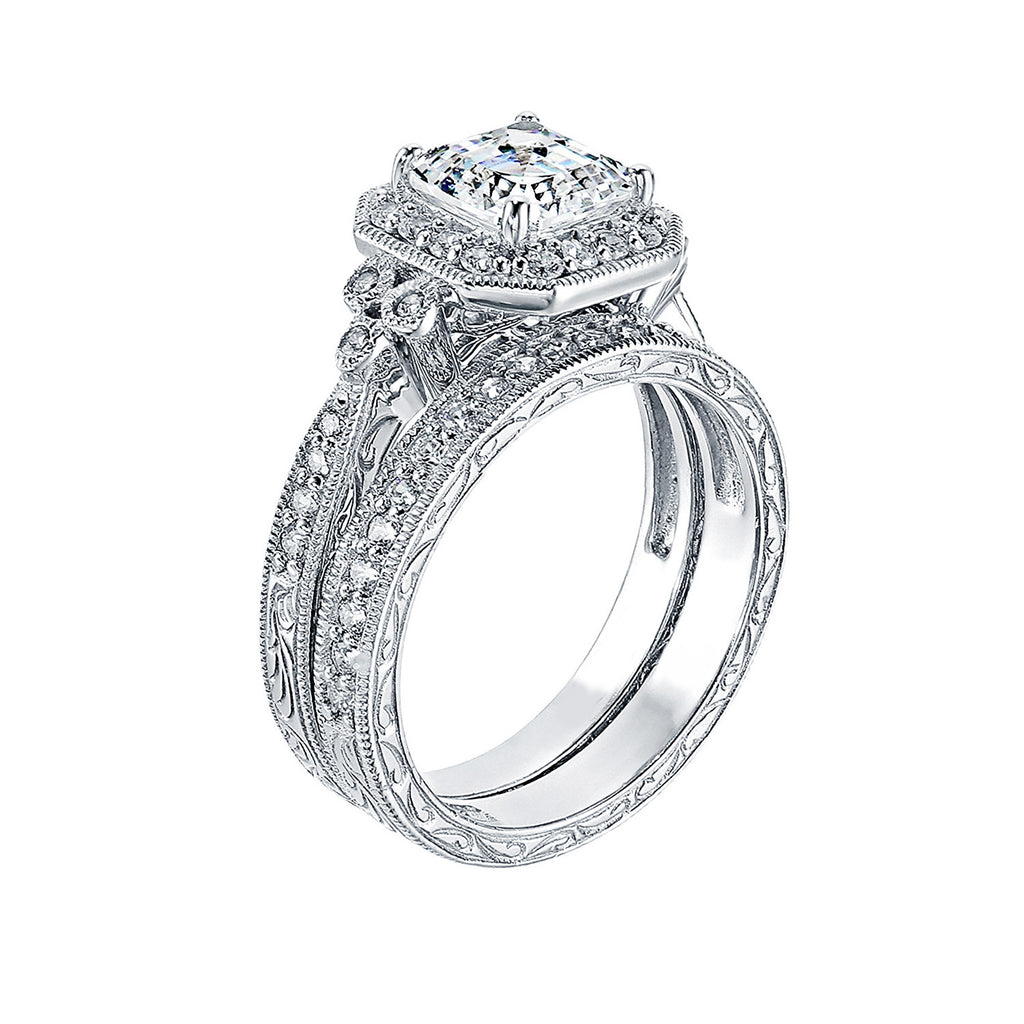 ... GEMOUR COLLECTION Swarovski Zirconia Asscher Cut Antique Bridal Ring Set  ...