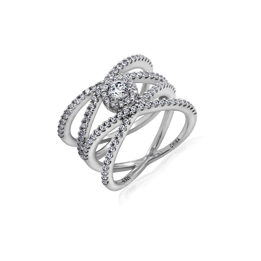 Kiera Couture Criss Cross Wide Pavé Ring - GEMOUR
