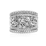 Kiera New York Mixed Cut Cluster Rope Cubic Zirconia Statement Stackable Ring Set - GEMOUR