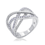 Kiera New York Five Row Wavy Rope and Pavé Ring - GEMOUR