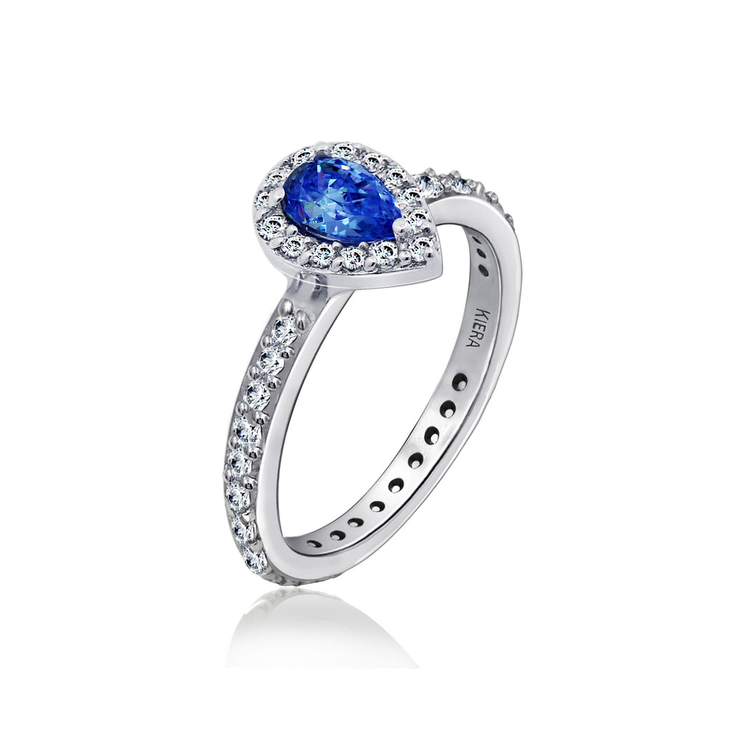 Kiera Couture Sapphire pear cut solitaire ring - GEMOUR