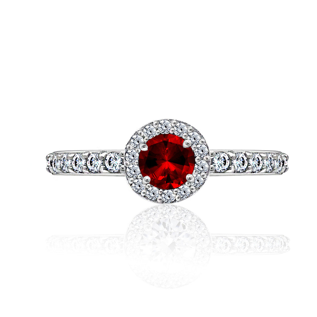 Kiera Couture Ruby round cut Solitaire ring - GEMOUR