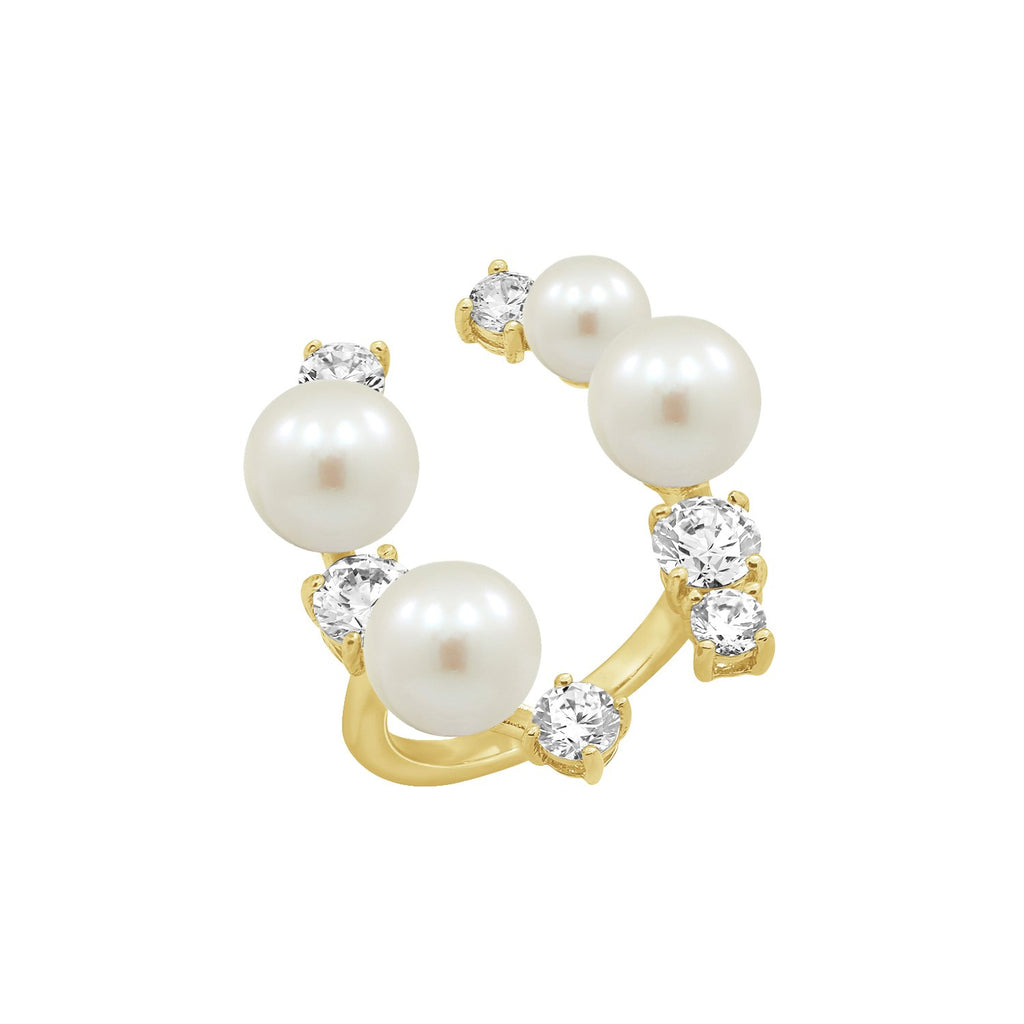 GLOW SOCIETY Pearl Collection - Curvy Bars with Pearl & CZ Ring (Adjustable) - GEMOUR