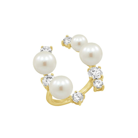 GLOW SOCIETY Pearl Collection - CZ & Pearl Open Bangle Bracelet (Adjustable)
