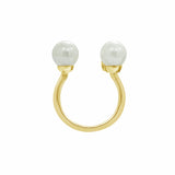 GLOW SOCIETY Pearl Collection - Parallel Bars with Pearl & CZ Open Ring (Adjustable) - GEMOUR