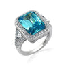 Kiera Couture Simulated Blue Diamond Radiant Halo Cocktail Ring - GEMOUR
