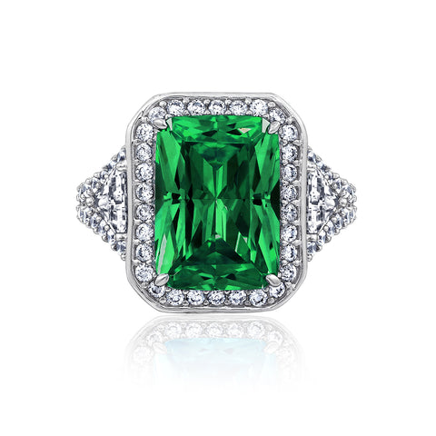 Kiera Couture EMERALD CUT SIMULATED GEM HALO COCKTAIL RING