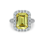 Kiera Couture EMERALD CUT SIMULATED GEM HALO COCKTAIL RING - GEMOUR