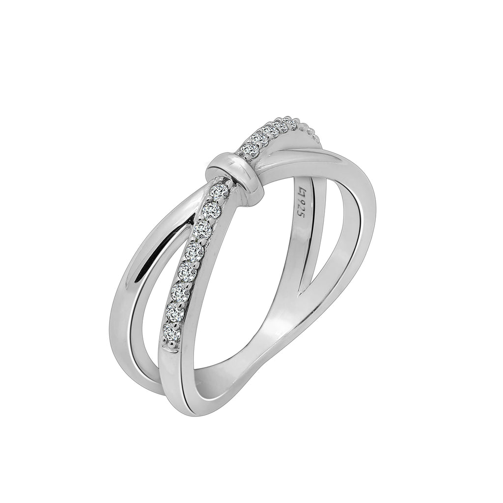 J'ADMIRE Half Band Clear Cubic Zirconia X Criss Cross Ring - GEMOUR