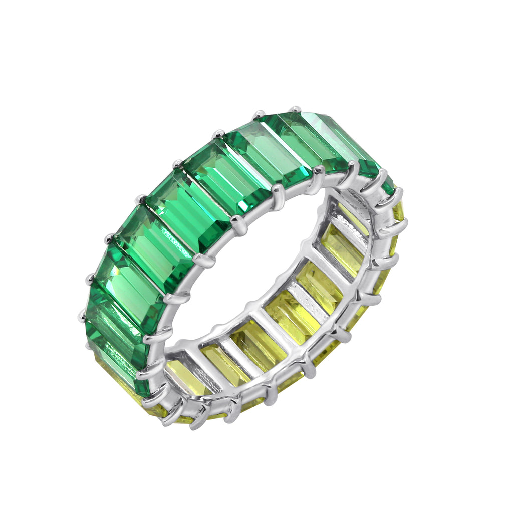 KIERA COUTURE Multicolored Princess Baguette Sterling Silver Band Ring - GEMOUR