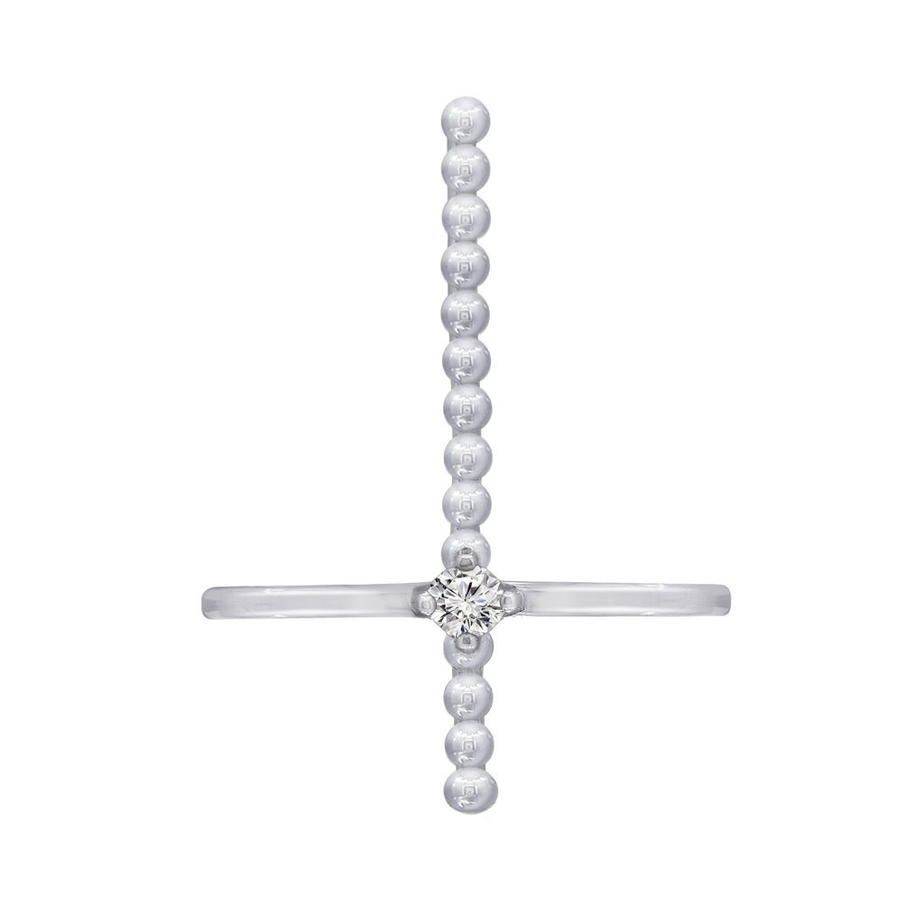 KIERA NEW YORK Platinum Clad Sterling Silver Cubic Zirconia Cross Beaded Ring - GEMOUR