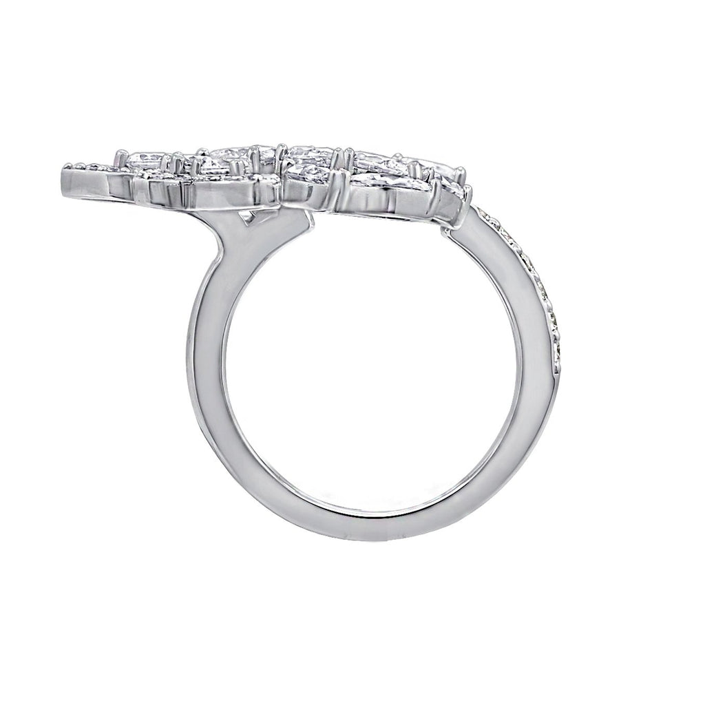 KIERA COUTURE Platinum Clad Sterling Silver Cubic Zirconia Laurel Wreath Open Ring - GEMOUR