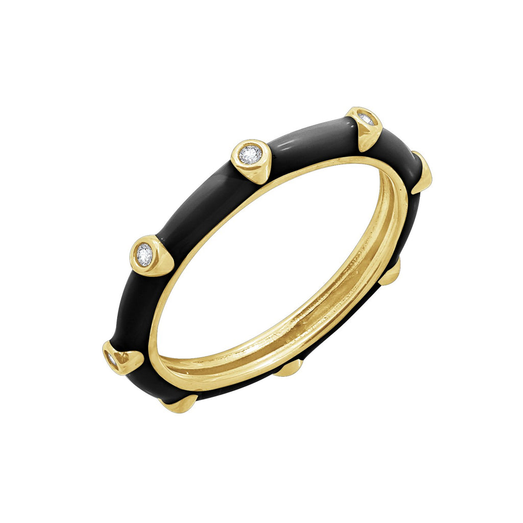 KIERA 14K Yellow Gold Clad Sterling Silver Black Enamel Ring with Cubic Zirconia Accent