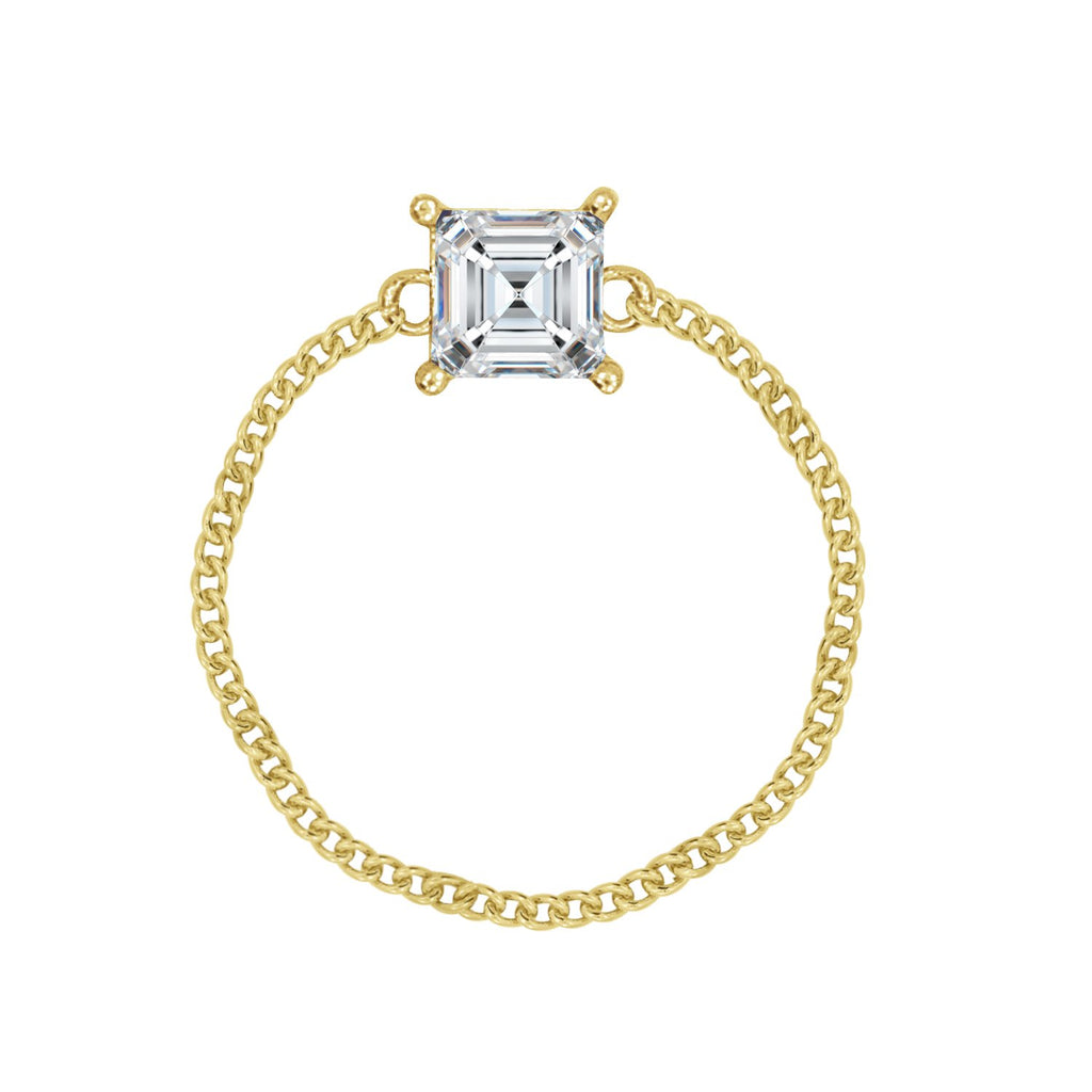 J'ADMIRE 14K Yellow Gold Clad Sterling Silver Asscher Cut Cubic Zirconia Cable Chain Ring