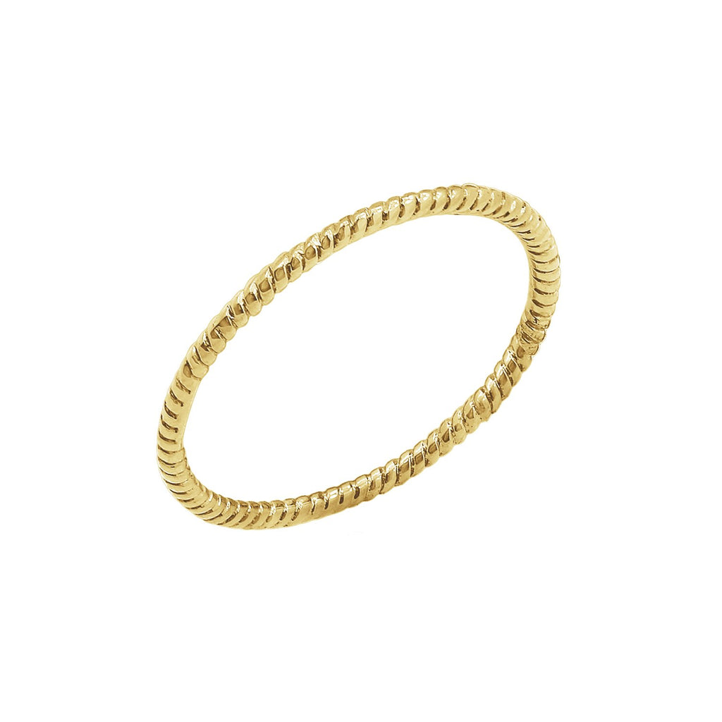 J'ADMIRE Stackable Collection - 14K Yellow Gold Clad Sterling Silver Stakable Twisted Rope Stacking Ring, Size 6