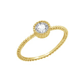 J'ADMIRE Stackable Collection - 14K Yellow Gold Clad Sterling Silver Round Cubic Zirconia Solitaire Stacking Ring, Size 6