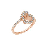 J'ADMIRE 14K Rose Gold Clad Sterling Silver Interlocking Heart Circle Ring
