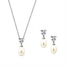 Heart CZ and Freshwater Cultured Pearl Necklace & Earrings Set - GEMOUR