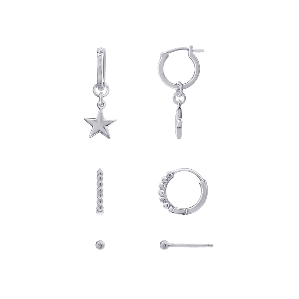 J'ADMIRE-Sterling-Silver-Ball-Studs,-Star-Dangle-Huggie-Hoops-and-Ball-Hoop-Earrings-Set,-Gold-or-Rhodium-Clad