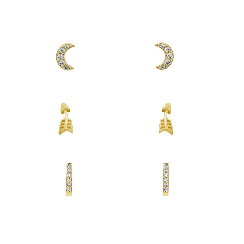 J'ADMIRE 14K Yellow Gold Clad Sterling Silver Cubic Zirconia Minimal Earring Set, Pave Crescent Moon, Arrow and Half Huggie Hoop Earrings - GEMOUR