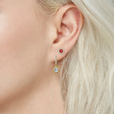 J'ADMIRE 14K Gold Swarovski ® Zirconia Halo Stud and Vintage Drop Earring Set - GEMOUR