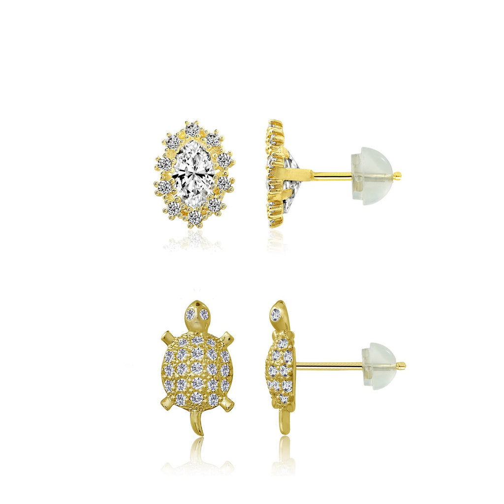 J'ADMIRE 14K Gold Marquise Cut Swarovski ® Zirconia Halo Stud and Pave Turtle Stud Earring Set - GEMOUR