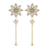 J'ADMIRE 14K Gold Swarovski ® Zirconia Daisy Stud and Flower Drop Earring Set - GEMOUR