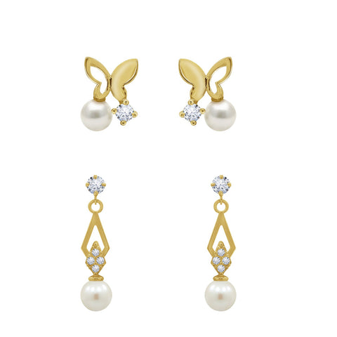 J'ADMIRE 14K Gold Swarovski ® Zirconia Open Heart Stud and Whimsical Butterfly with Flower Stud Earring Set