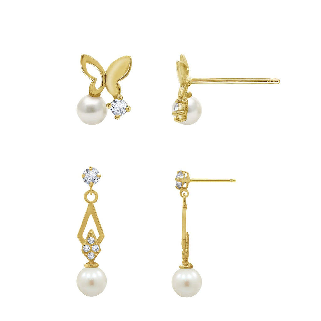 J'ADMIRE 14K Gold Swarovski ® Zirconia Butterfly Stud and Vintage Pearl Drop Earring Set - GEMOUR