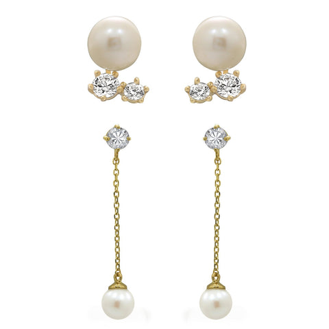 J'ADMIRE 14K Gold Swarovski ® Zirconia Diamond Shaped Pearl Stud and Triangle Stud Earring Set