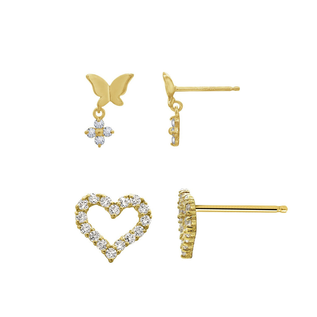 J'ADMIRE 14K Gold Swarovski ® Zirconia Open Heart Stud and Whimsical Butterfly with Flower Stud Earring Set - GEMOUR