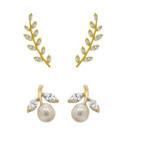 J'ADMIRE 14K Gold Swarovski ® Zirconia Cherry Drop Earring and Olive Leaf Ear Climber Set - GEMOUR