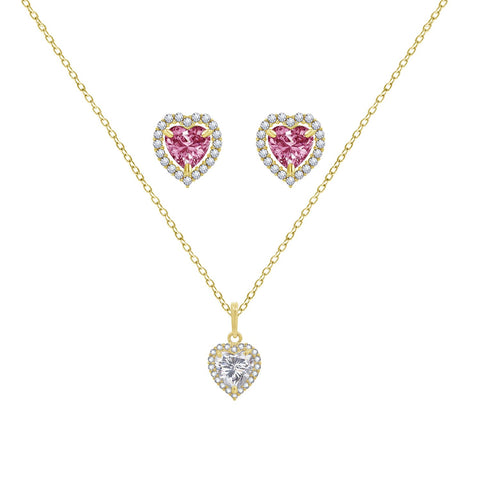 Swarovski Pink Heart Rose Plated Necklace