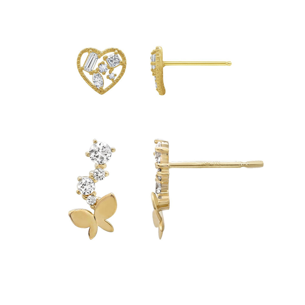 J'ADMIRE 14K Gold Swarovski ® Zirconia Open Heart Cluster Stud and Butterfly Stud Earring Set - GEMOUR