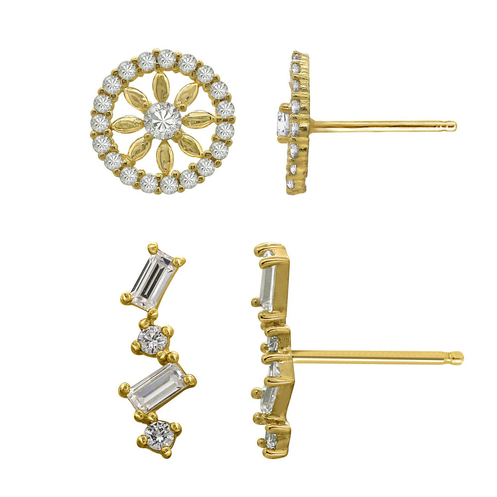 J'ADMIRE 14K Gold Baguette Cut Swarovski ® Zirconia Ear Climber and Sunburst Stud Earring Set - GEMOUR