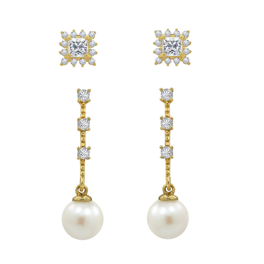J'ADMIRE 14K Gold Princess Cut Swarovski ® Zirconia Halo Stud and Station Pearl Drop Earring Set - GEMOUR