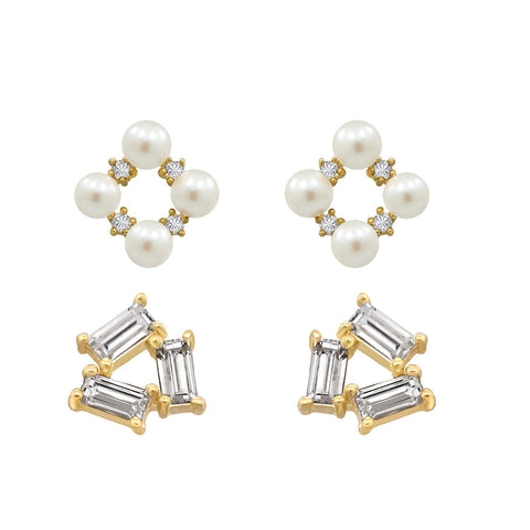 J'ADMIRE 14K Gold Swarovski ® Zirconia Butterfly Stud and Vintage Pearl Drop Earring Set