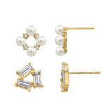 J'ADMIRE 14K Gold Swarovski ® Zirconia Diamond Shaped Pearl Stud and Triangle Stud Earring Set - GEMOUR