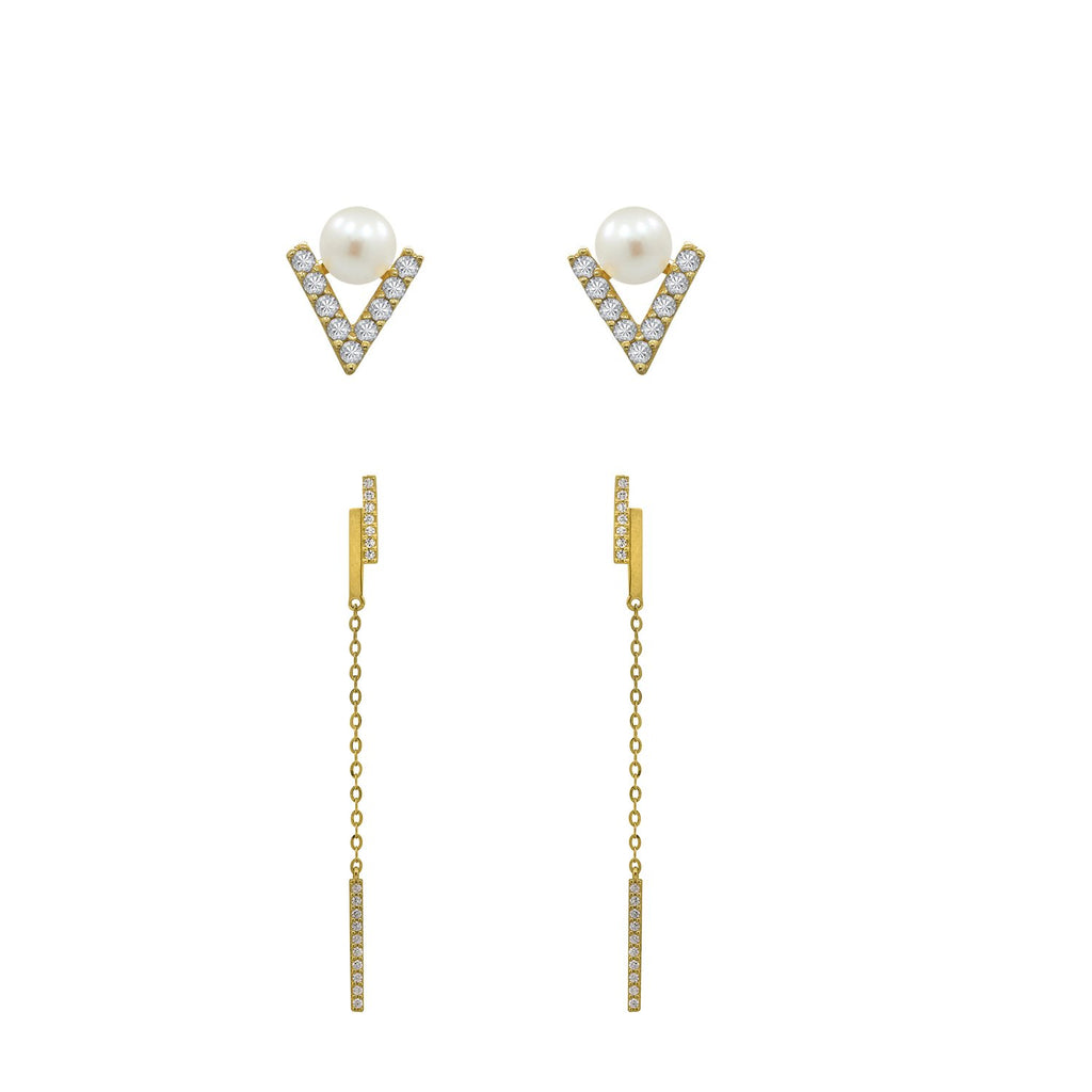 J'ADMIRE 14K Gold Swarovski ® Zirconia Drop Earring and Triangle Pearl Stud Earring Set - GEMOUR