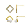 J'ADMIRE 14K Gold Swarovski ® Zirconia Diamond Shaped Stud and Open Pearl Stud Earring Set - GEMOUR