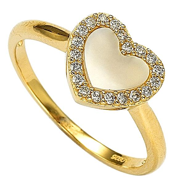 "GEMOUR ""Speak Yourself Collection"" Yellow Gold Plated Sterling Silver Cubic Zirconia Chunky Heart Ring - GEMOUR"