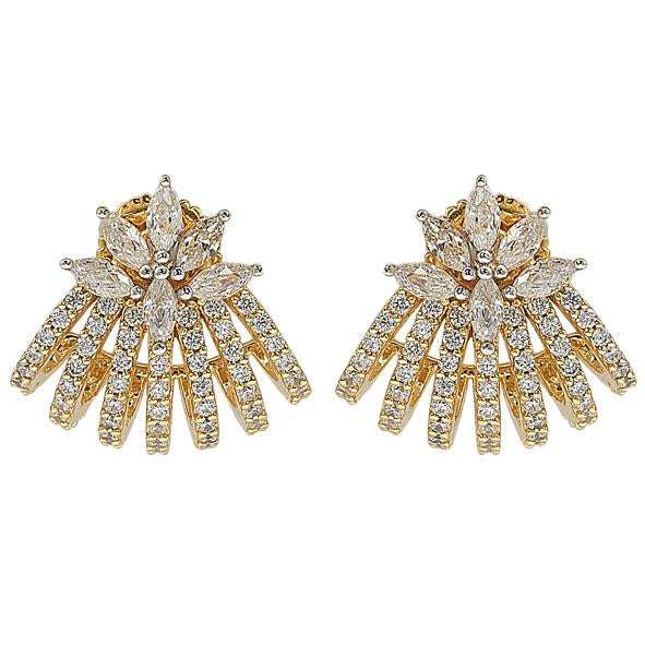GEMOUR Yellow Gold Plated Sterling Silver Cubic Zirconia Elegant Stud Earrings - GEMOUR