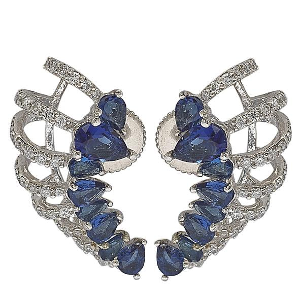 GEMOUR Yellow Gold Plated Sterling Silver Cubic Zirconia and Created Sapphire Ear Cuffs - GEMOUR