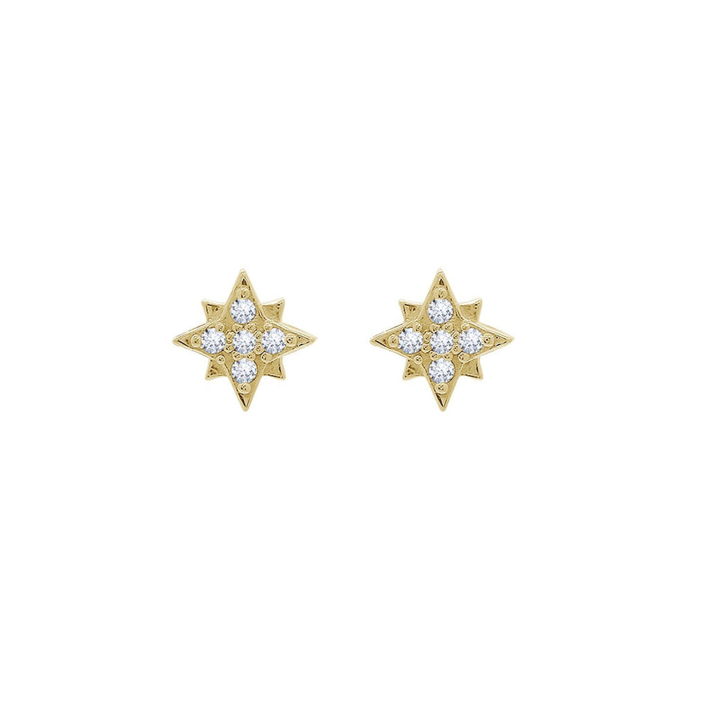 J'ADMIRE 14K Yellow Gold Clad Sterling Silver Embellished Pave Cubic Zirconia North Star Stud Earrings