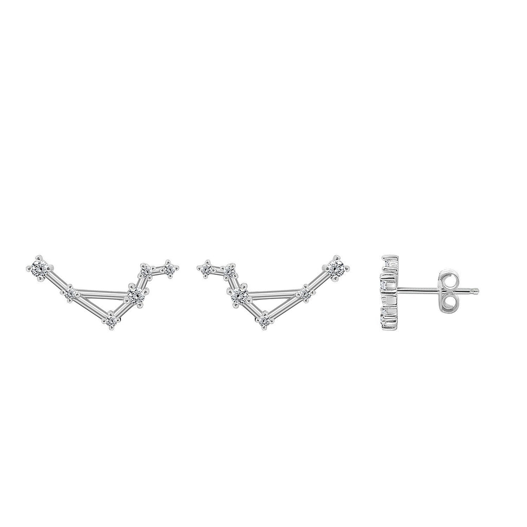 J'ADMIRE Horoscope Collection - Rhodium Clad Sterling Silver Cubic Zirconia Zodiac Constellation Symbol Earrings