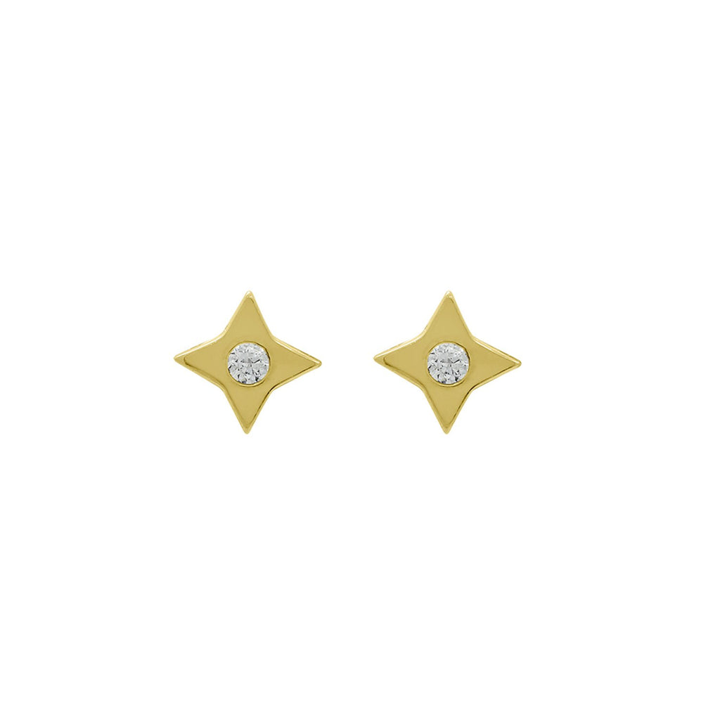 J'ADMIRE 14K Yellow Gold Clad Sterling Silver Cubic Zirconia Blink Star Stud Earrings