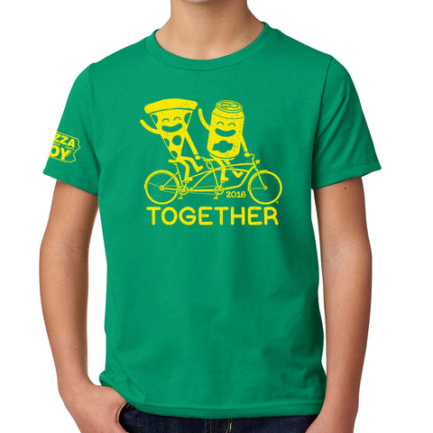 Together Tee - Tandem Bike - YOUTH Kelly Green